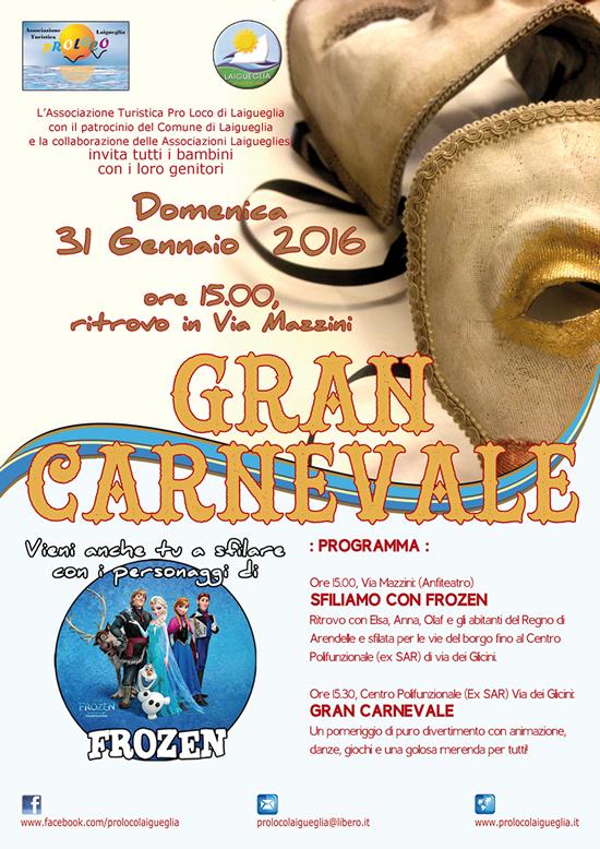 [GRAFICA: Locandina] – Carnevale 2016, Laigueglia